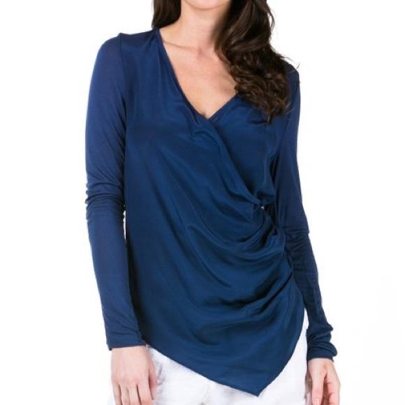 Miilla Clothing Tops - Asymmetrical Silk Wrap Top